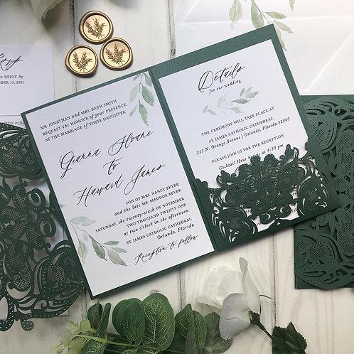 Emerald Green Shimmer Lasercut Pocket Wedding Invitations 201