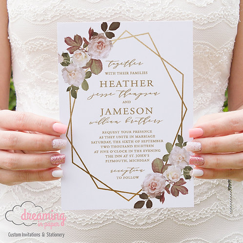 Blush & White Vintage Roses Geometric Gold Terrarium Wedding Invitation 004