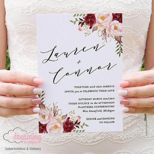 Blush Burgundy Floral Wedding Invitations