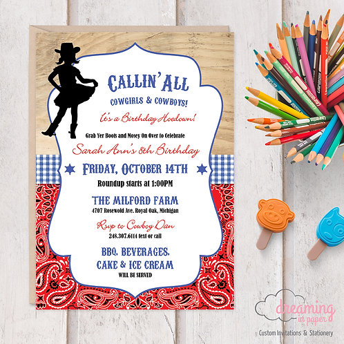 Cowgirl Cowboy Hoedown Birthday Invitation