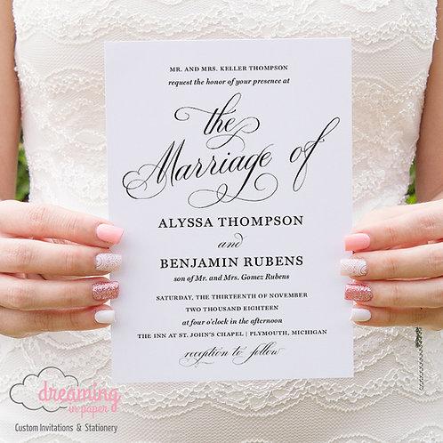 Classic Bodega Scroll Elegant Script Wedding Invitation - Bodega Schneider