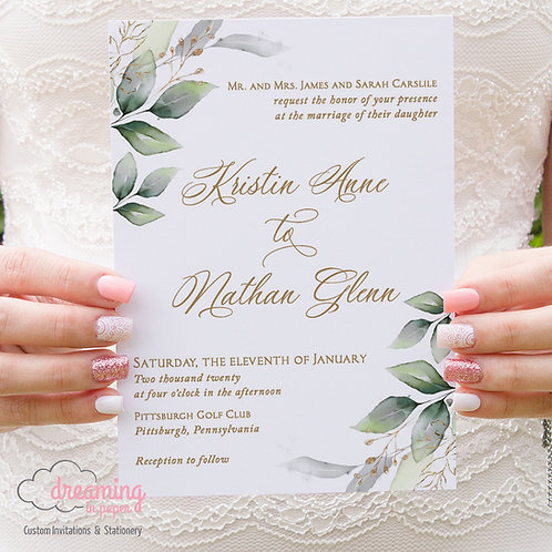 Golden Corner Greenery Lisima Wedding Invitations 365