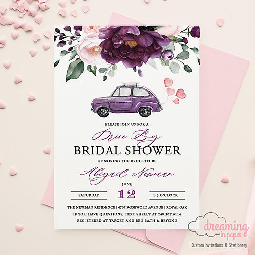 Drive By Deep Velvet Purple Floral Bridal Shower Invitations