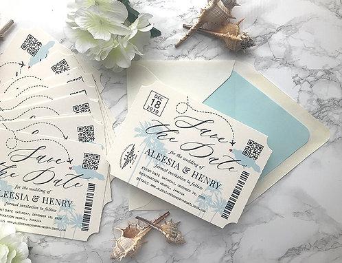 Destination Wedding Jamaica Die Cut Ticket Save the Date