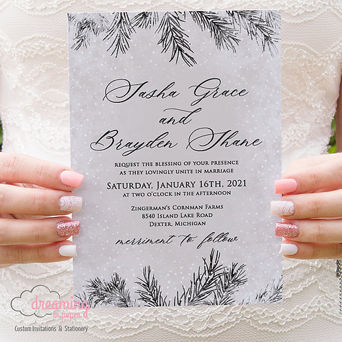 Frosty Winter Pine Wedding Invitations 385