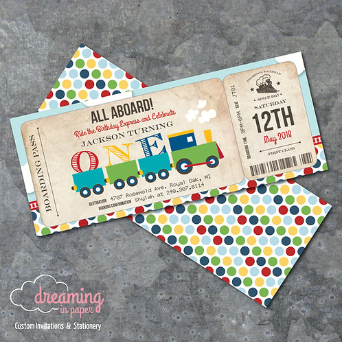 Train Railroad Boarding Pass Birthday Invitation