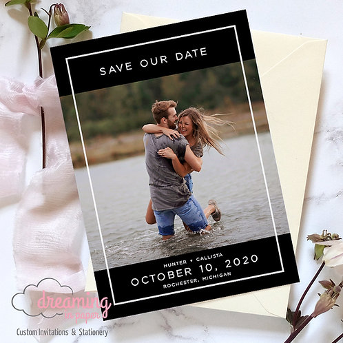 copy of Modern Border Photo Save the Dates Black