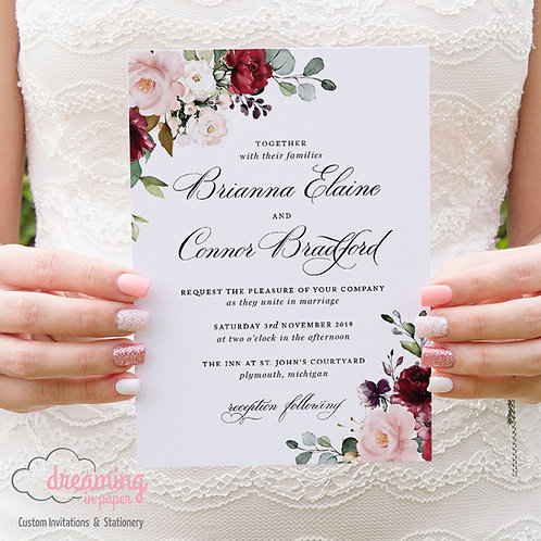 Formal Marsala Burgundy Blush Floral Wedding Invitations 251