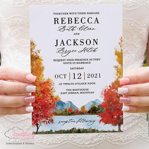 fall lake wedding, fall lake invites, fall mountain invite, wedding invitation, autumn mountains, autumn lake wedding