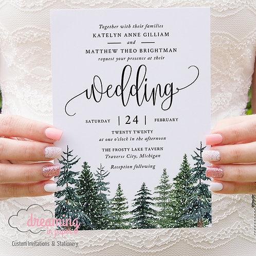 Rustic Winter Pine Tree Forest Trees Wedding Invitations 306