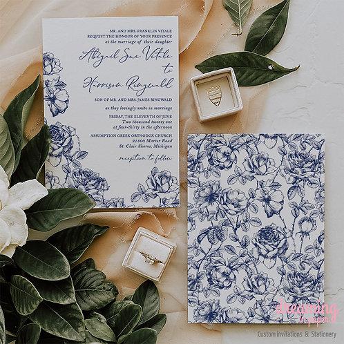 Blue China Roses Chinoiserie Wedding Invitations 404