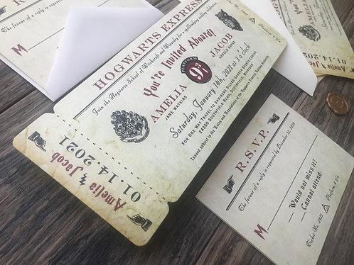 Harry Potter Hogwarts Express Wedding Invitations Die Cut