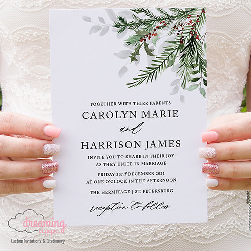 Holiday Holly and Pine Winter Wedding Invitations 393