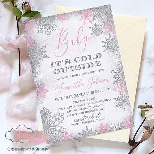Baby It's Cold Outside Silver Pink Frost Baby Shower Invitations