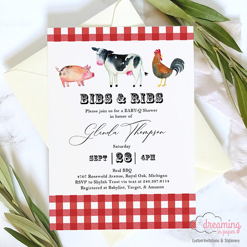 Bibs & Ribs Farm Animal BBQ Baby Shower Invitations