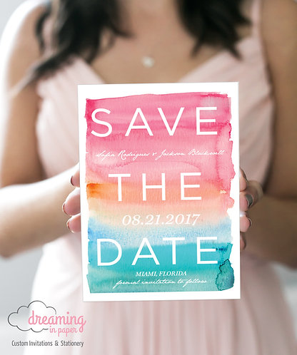 Tropical Watercolor Ombre Beach Save the Dates