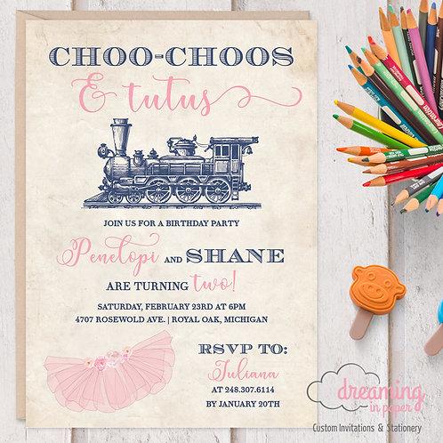 Tutus and Choo Choos Twins or Dual Birthday Party Invitations