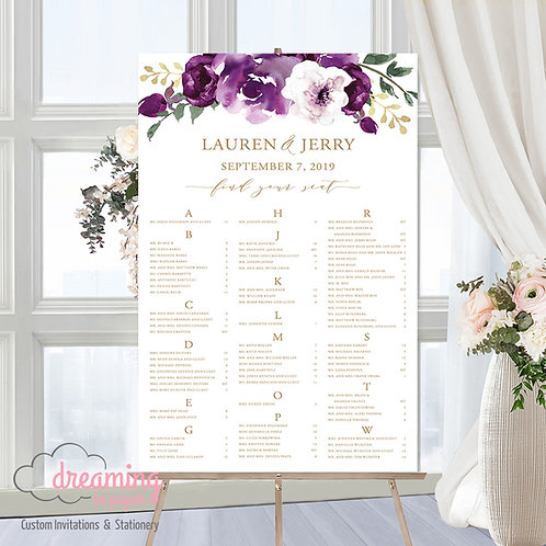 Purple Floral Drop Seating Chart