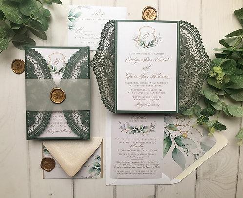 Emerald Green Lasercut Wedding Invitations Greenery 416