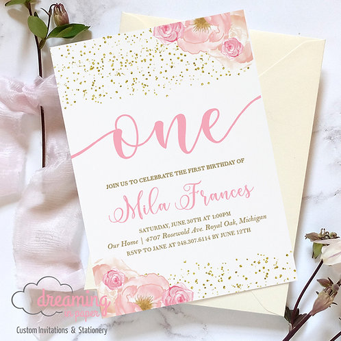 Pink Floral Gold Confetti First 1st Birthday Invitation