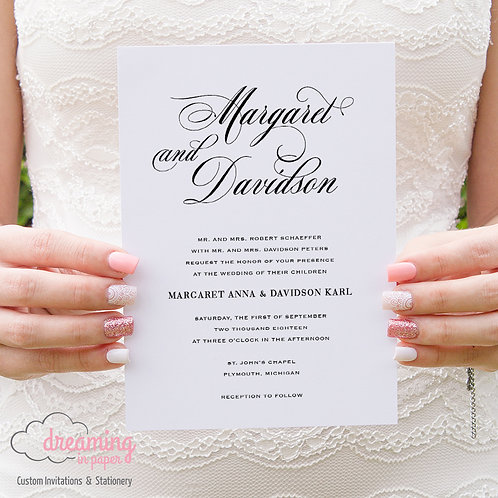 Classic Simple and Elegant Script Wedding Invitation - Mozart Schneider