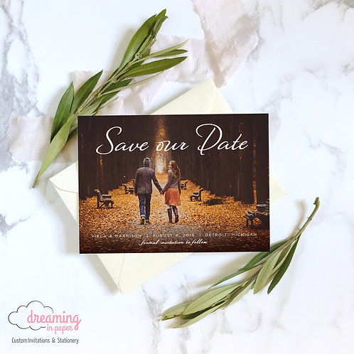 Modern Script Photo Save the Dates