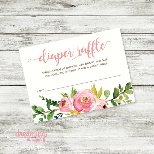 Diaper Raffle Ticket / Card - Coordinates with Mama & Baby Shower Invitation