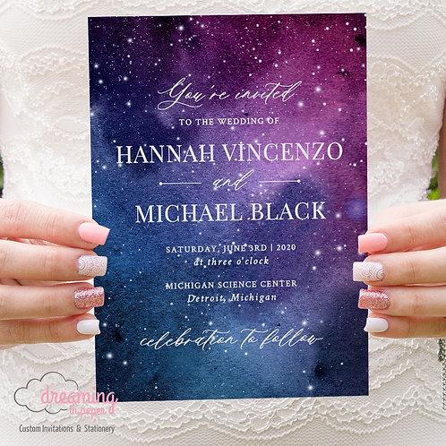 Galaxy Space Stars Wedding Invitations 328