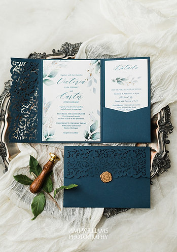 Navy Laser Cut Pocket Wedding Invitations Greenery and Gold LC349