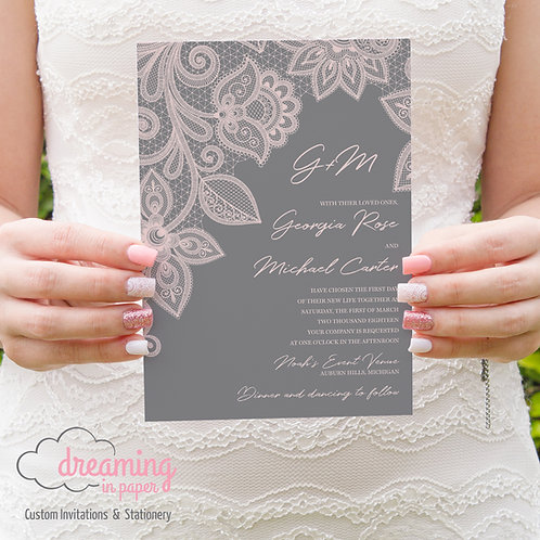 Delicate Blush Lace and Gray Wedding Invitation Set