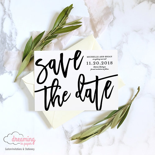 Bold Modern Script Save the Dates