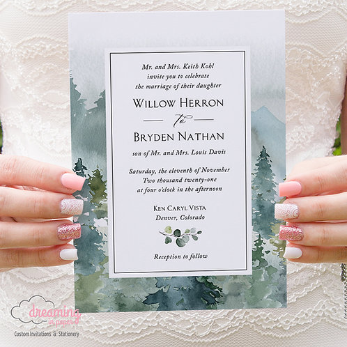 Rustic Mountain Forest Watercolor Traditional Wedding Invitations 429