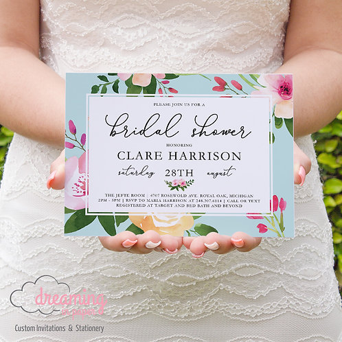 Spring Floral Rosaleen Bridal Shower Invitation