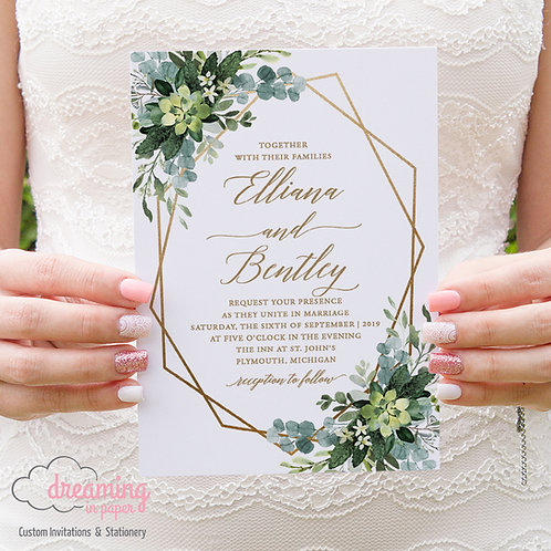 Boho Greenery Eucalyptus Gold Geometric Wedding Invitations 235
