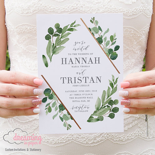 Wild Diamond Greenery and Copper Wedding Invitation 139