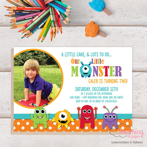 Our Little Monster Photo Birthday Invitation