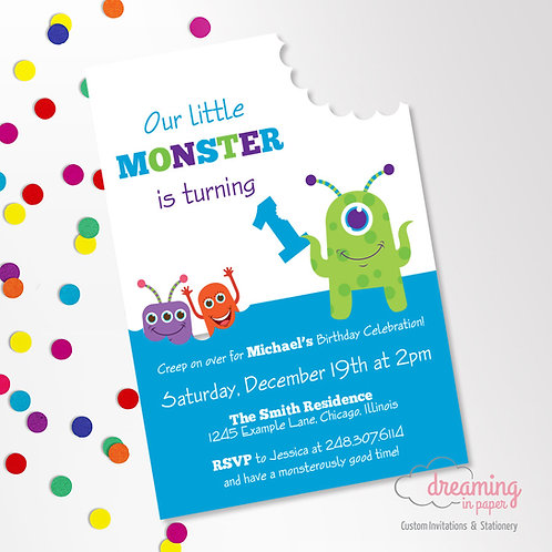 Little Monster Birthday Party Invitations with Bite Mark