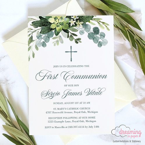 Greenery First Communion or Baptism Invitations
