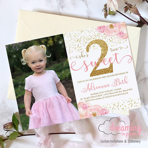 Two Sweet 2nd Birthday Invitations