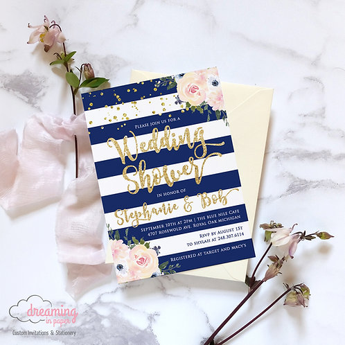Blush and Navy with Gold Sparkle Floral Bridal Shower Invitation