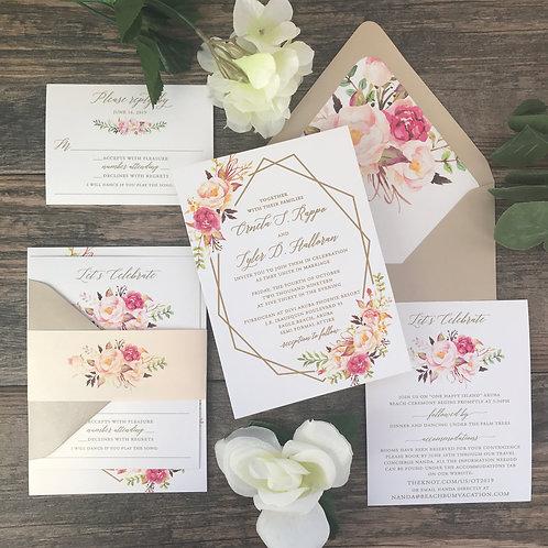 Raised Gold Ink Boho Romantic Geometric Wedding Invitation