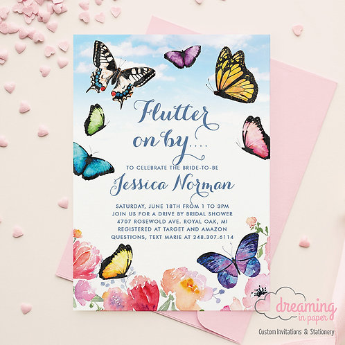 Butterfly Drive By Shower Bridal Shower Invitations
