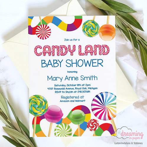 candy land baby shower, candy baby shower, candyland shower, baby shower invite, candy land invite