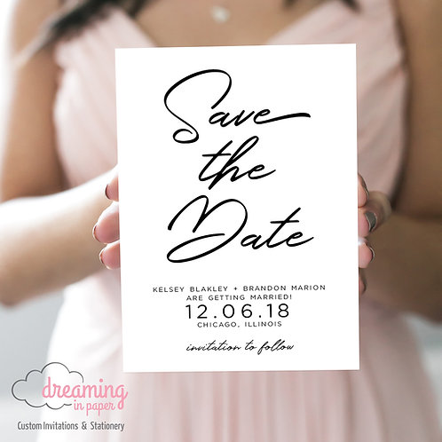Modern Holland Script Save the Dates - Any ink color!