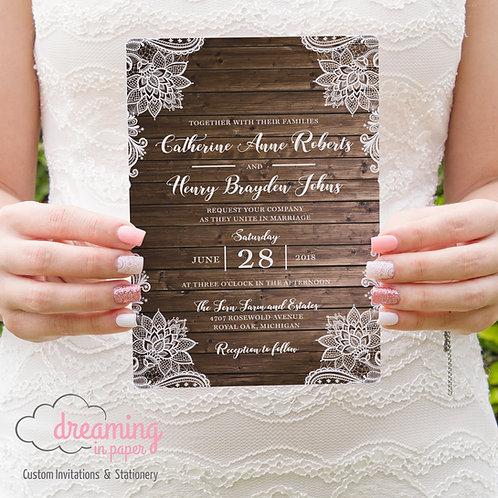 Rustic Wood and Lace Wedding Invitation Set 129