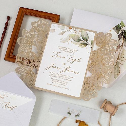 Gold Floral Laser Cut Gatefold Greenery Lisima Wedding Invitations