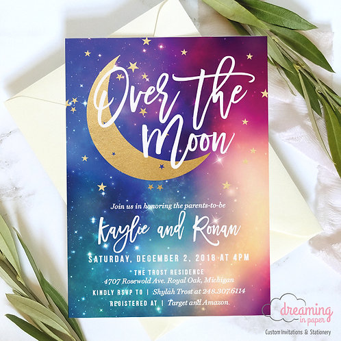 Over the Moon Galaxy Nebula Baby Shower Invitation