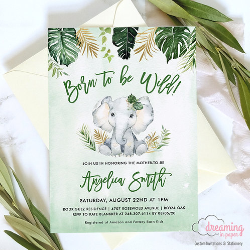 Elephant Baby Shower Invitations Born to Be Wild