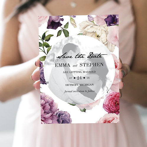 Romantic Floral Circle Photo Save the Dates