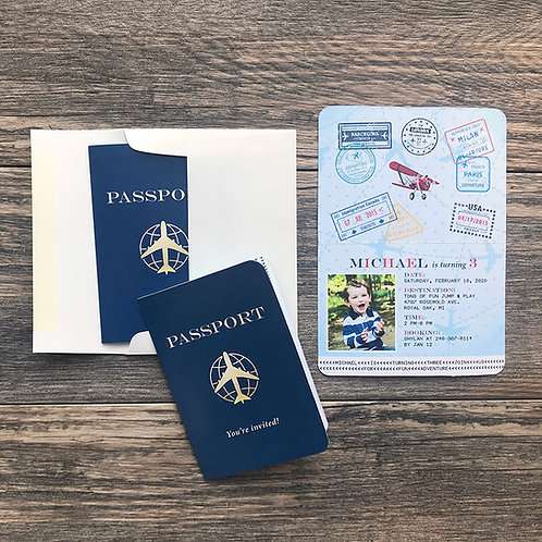 Passport Birthday Invitation Airplane Birthday